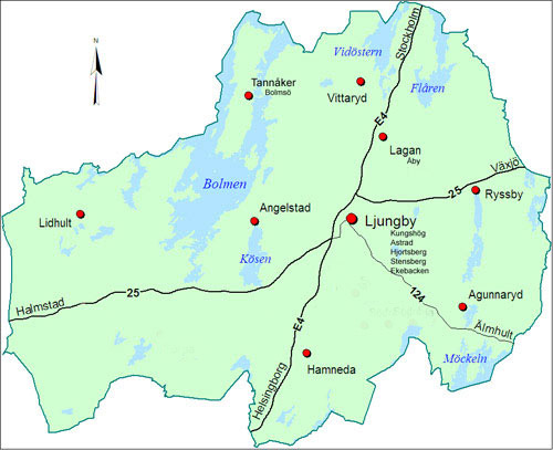 karta över lagan Ljungby kommun karta över lagan